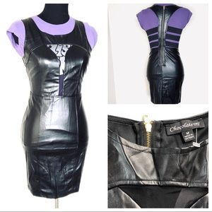 CHIC!🖤Faux Leather Steampunk Black Summer Dress🖤
